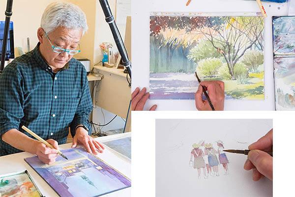 水彩画家による創作プロセスの撮影