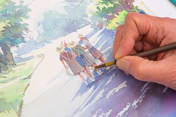 水彩画の作画プロセスを撮った写真