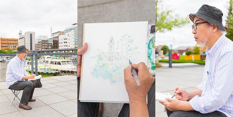 横浜に出張撮影した水彩画家の作画プロセス