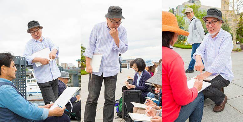 横浜に出張撮影した水彩画レッスンの様子